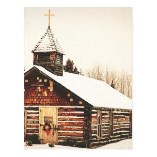 church and snow postcard
