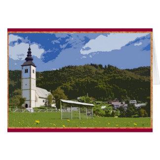 Church and town of Jereka, Slovenia. Card