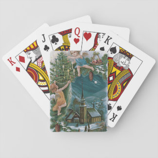 Church Angel Cherub Christmas Tree Playing Cards