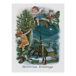 Church Angel Cherub Christmas Tree Postcard