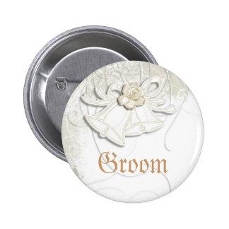 Church bells n floral wedding white 6 cm round badge