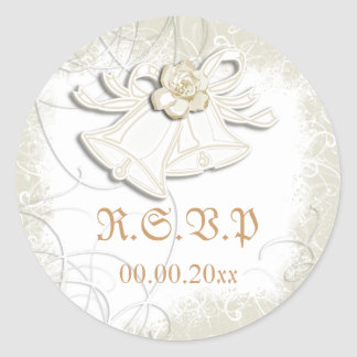 Church bells n floral wedding white classic round sticker