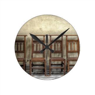 church chairs round clock
