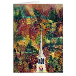 Church Cross Vermont Autumn Watercolor art Card