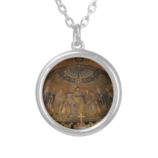 Church dome arch temple silver plated necklace