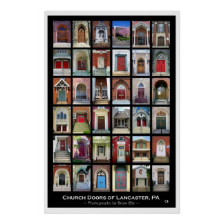 """Church Doors of Lancaster, PA"" Poster"