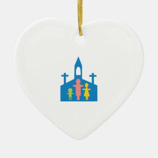 Church Family Ceramic Heart Ornament