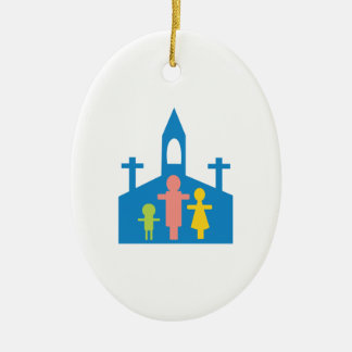 Church Family Ceramic Oval Ornament