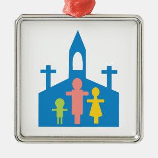 Church Family Silver-Colored Square Ornament