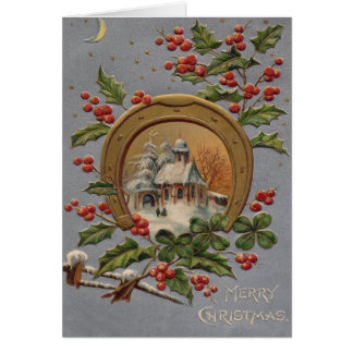Church Holly Christmas Tree Gold Horseshoe Card
