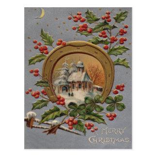 Church Holly Christmas Tree Gold Horseshoe Postcard