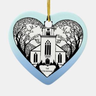 Church in a Heart - Customizable Ornament