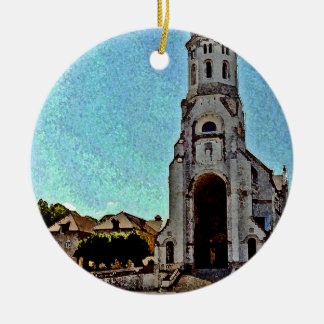Church in Annecy France with Mountains Round Ceramic Decoration