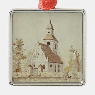Church in Pankow, Berlin Silver-Colored Square Decoration