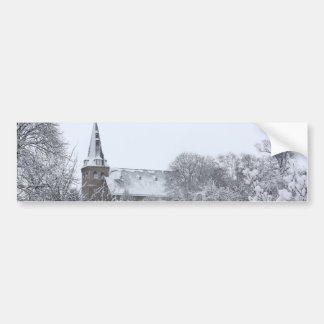 church in snow bumper sticker
