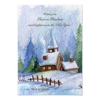 Church in Snow Christmas Cards 13 Cm X 18 Cm Invitation Card
