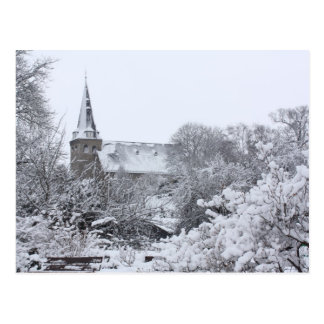 church in snow postcard