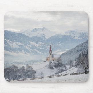 Church in Zillertal in winter mousepad