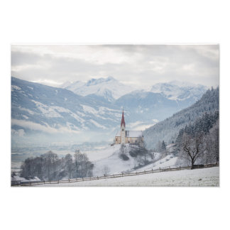Church in Zillertal in winter photo print