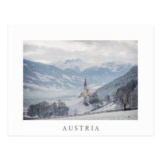 Church in Zillertal in winter white postcard
