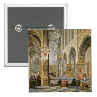 Church interior 15 cm square badge