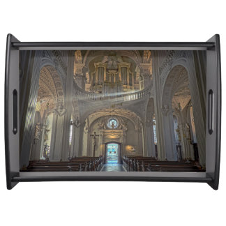 Church interior architectural building serving tray