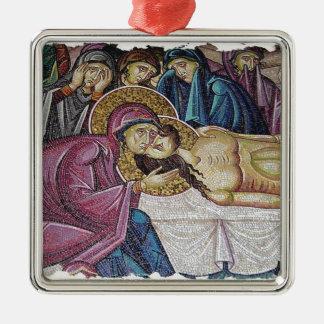 Church Mosaic Silver-Colored Square Decoration