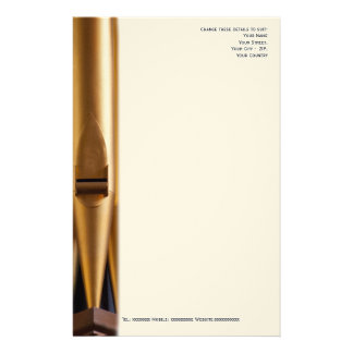 Church musician letterhead with pipe customized stationery