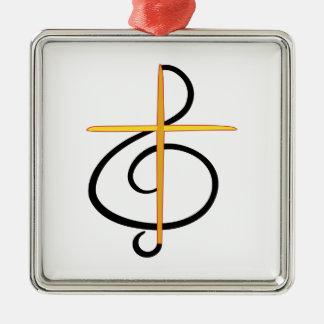 Church Musician Silver-Colored Square Decoration