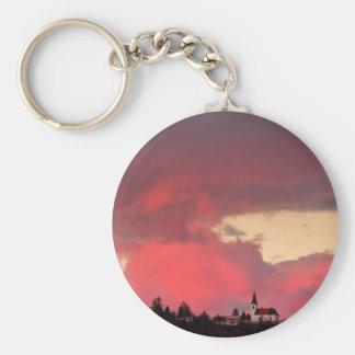 Church of Saint Nicholas at sunset Basic Round Button Key Ring