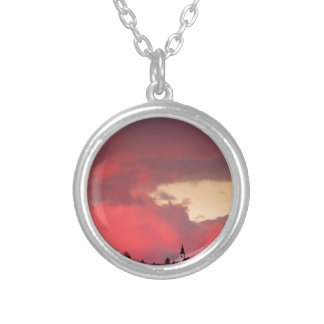 Church of Saint Nicholas at sunset Silver Plated Necklace