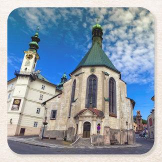 Church of St. Catherine, Banska Stiavnica,Slovakia Square Paper Coaster