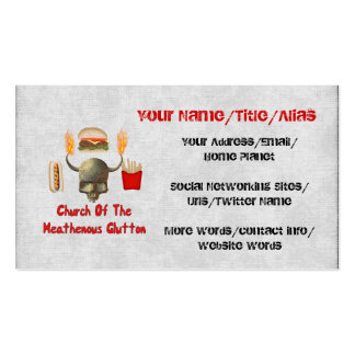 Church Of The Heathenous Glutton Business Card Template