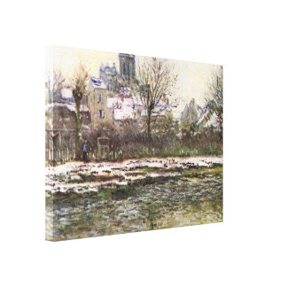 Church of Vetheuil in the snow - Claude Monet Stretched Canvas Print