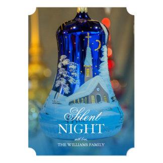 Church Painted blue glass Christmas ornament 13 Cm X 18 Cm Invitation Card