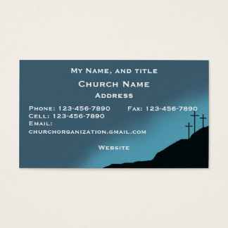 Church/Pastor Card, 3 crosses on hill, blue Business Card