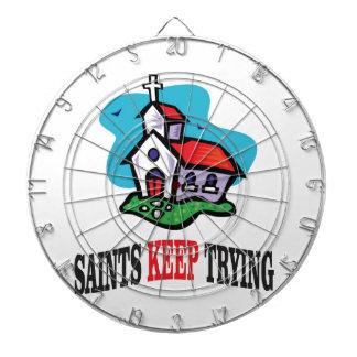 church saints keep trying dartboard with darts