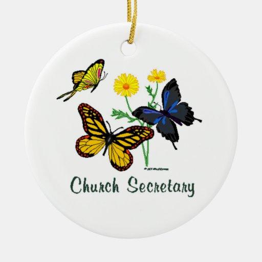 Church Secretary Butterflies Christmas Tree Ornament