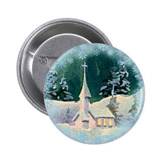CHURCH & SNOWFLAKES by  SHARON SHARPE 6 Cm Round Badge