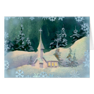 CHURCH & SNOWFLAKES by SHARON SHARPE Card