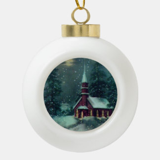 Church, Snowy Christmas Village Vintage Ornament