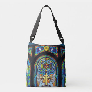 Church Stain Glass Window Cross Angels Crossbody Bag