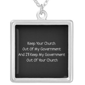 Church State Separation Square Pendant Necklace