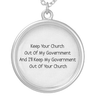 Church State Separation Silver Plated Necklace