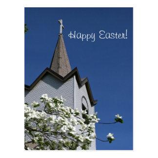 Church Steeple and Dogwood Postcard