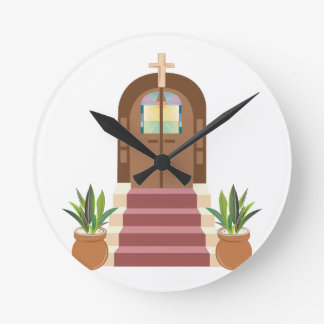 Church Steps Round Clock