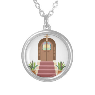 Church Steps Silver Plated Necklace