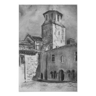 Church tower charcoal drawing poster