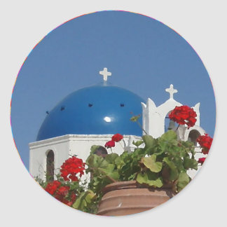 Church Views on Santorini, Greece Classic Round Sticker