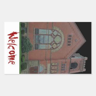 Church Welcome Rectangular Stickers